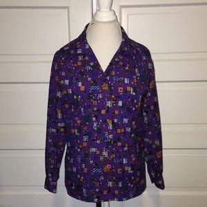 Vintage DVF Purple Print Shirt Small
